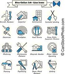 bleu, icônes, -, métier, ligne, collier