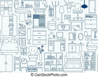 bleu, icônes, modèle, seamless, couleurs, mince, notebook., interior., ligne