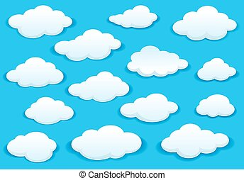 bleu, icônes, pelucheux, ciel, nuage blanc