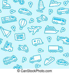 bleu, icônes, seamless, fond, blanc, transport