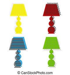bleu, icônes, signe, lampe, jaune, vert, w, rouges, vector., illustration.