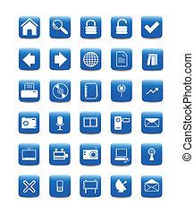 bleu, icônes toile, boutons