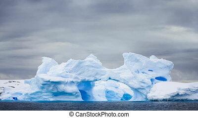 bleu, iceberg, glacier, nature., caverne, antarctique