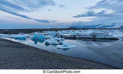 bleu, icebergs, flotter