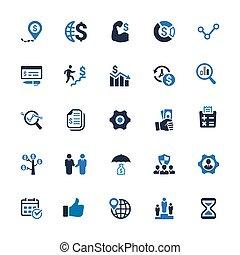 bleu, icones affaires, série, -, 1), (set