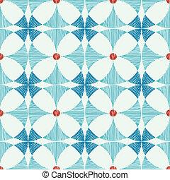 bleu, ikat, modèle, seamless, fond, géométrique, rouges