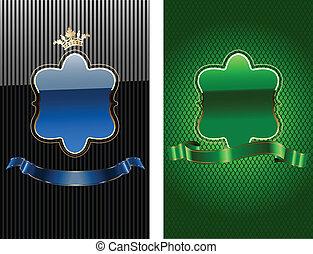 bleu, illustration., banner., royal, vecteur, vert, orné,...