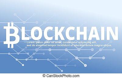 bleu, illustration., blockchain, arrière-plan., vecteur, technologie