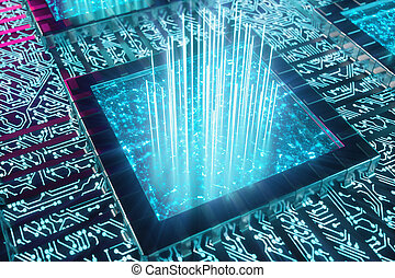 bleu, illustration, concept, scientifique, ai, intelligence, concept., -, artificiel, fond, machine, learning., planche, tracks., light., lueur, unité centrale traitement, 3d