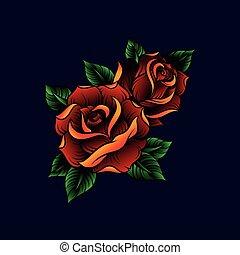 bleu, illustration, feuilles, sombre, roses, vecteur, arrière-plan vert, stylique floral, rouges