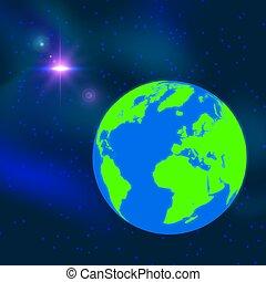 bleu, illustration., globe, -, space., planète, arrière-plan., vecteur, la terre