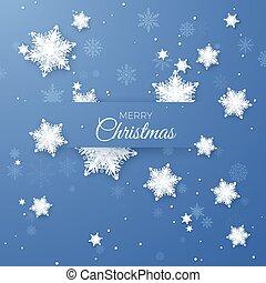 bleu, illustration., joyeux, modèle, salutation, isolé, papier, arrière-plan., vecteur, snowfall., fond, origami, noël, flocons neige
