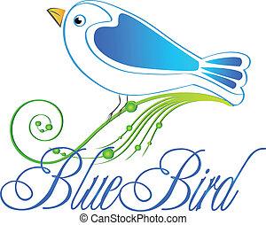 bleu, illustration, logo, oiseau, vecteur