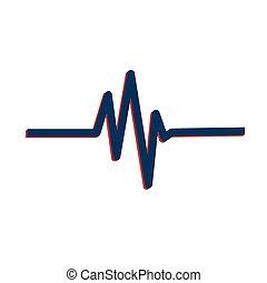 bleu, illustration., pouls, vecteur, gabarit, logo, unique, rouges, design.
