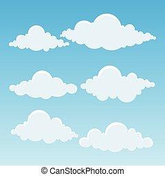 bleu, illustration., vecteur, sky., nuages