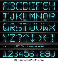 bleu, image, alphabétique, numérique, sombre, arrière-plan...