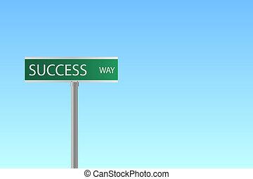 """bleu, image, ciel, signe, arrière-plan., rue, """"success, way"""""""