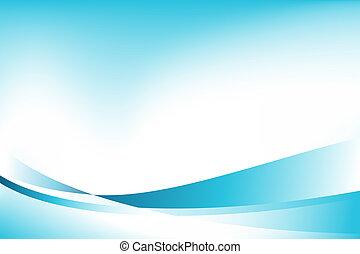 bleu, image, fond, vague