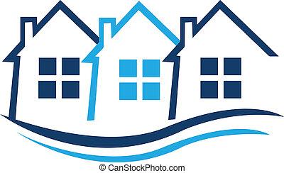 bleu, immobiliers, maisons, vecteur, identité, logo, carte