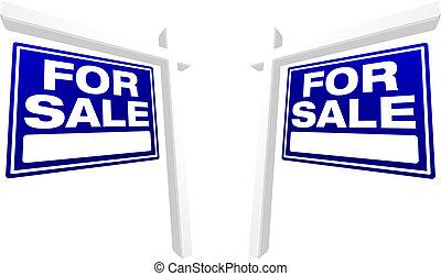 bleu, immobiliers, vente, signes, paire
