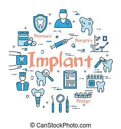 bleu, implant, concept, rond