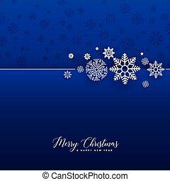 bleu, impressionnant, flocons neige, fond, noël