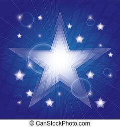 bleu, incandescent, étoiles, fond