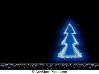 bleu, incandescent, arbre noël