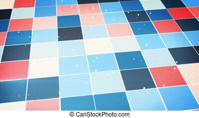 bleu, incandescent, carrés, orange, boucle