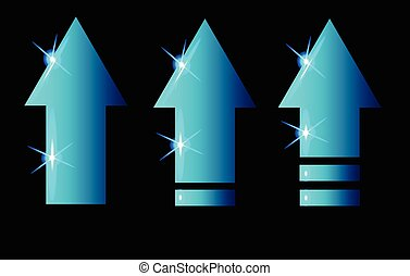 bleu, incandescent, ensemble, flèches