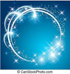 bleu, incandescent, fond, étoiles