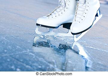 bleu, incliné, reflet, patins glace, version