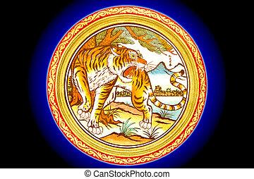 bleu, indigo, chinois, mur, tigre, mable, fond, peinture, temple