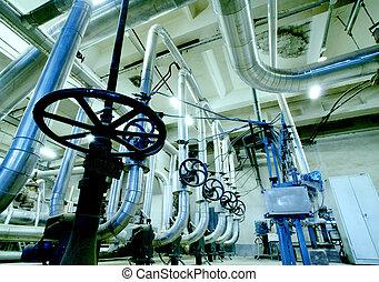 bleu, industriel, acier, zone, canalisations, tonalités