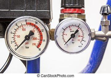 bleu, industriel, baromètre, air, fond, compresseurs