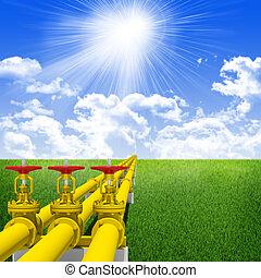 bleu, industriel, ciel, canaux transmission, essence, trois, contre, transmission., arrière-plan vert, nuages, herbe
