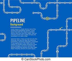 bleu, industriel, essence, huile, canaux transmission, eau, fond, blanc