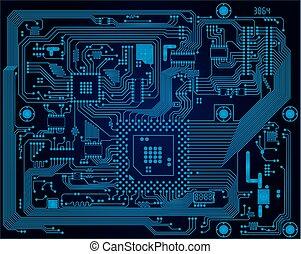 bleu, industriel, high-tech, résumé, sombre, circuit, vecteur, planche, fond, électronique