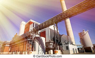 bleu, industriel, moderne, ciel, usine, contre