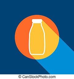 bleu, infini, tangelo, bouteille, signe., blanc, jaune, produced., arrière-plan., clair, sélectif, noir, ombre, vector., lumière, marine, cercle, frais, lait, icône