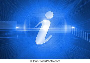 bleu, information, brillant, fond, icône
