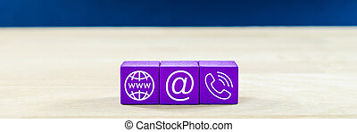 bleu, information, emplacement, icônes, dés, ils., service, sur, contact, image, vue, bois, arrière-plan., large, client