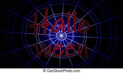 bleu, inscription, collé, oscillation, toile, halloween, ...