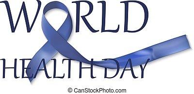 bleu, inscription, sombre, santé, mondiale, conception, jour, ruban