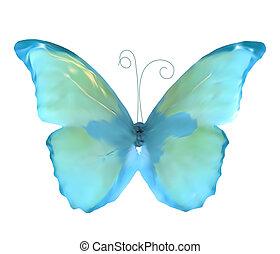 bleu, insecte papillon, vecteur, isolated.