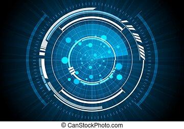 bleu, intérieur, radar, fond, technologie, vaisseau spatial