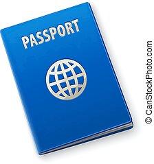 bleu, international, couverture, passeport