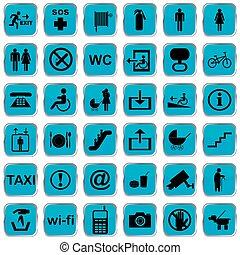 bleu, international, icônes, service, boutons