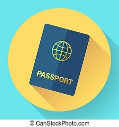 bleu, international, vecteur, globe., passeport