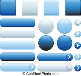 bleu, internet, boutons